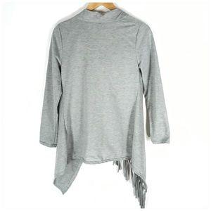 Tops - Gray Asymmetric Hem One Button Cardigan